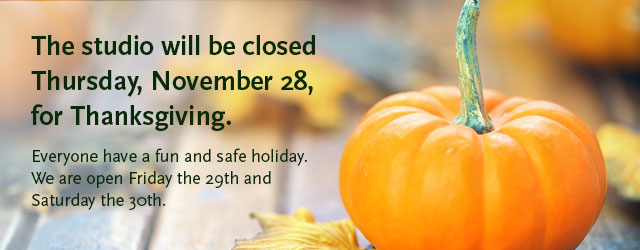 Body Springs Studio is closed November 23, 2017 for Thanksgiving.